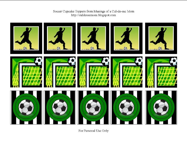 Free soccer cupcake toppers