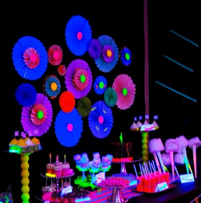 Neon Glow In The Dark Party Dessert Table. See More Glow In The Dark Party & 15+ Glow In The Dark Party Ideas! - B. Lovely Events