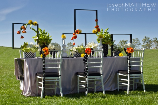 Orange and green modern wedding