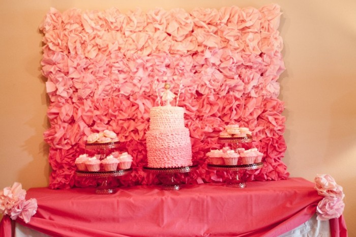 Pink Ombre Backdrop for a dessert bar- love this!