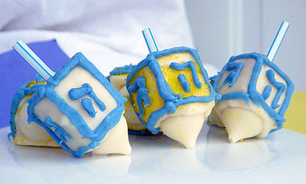 Mini Dreidel cakes for Hanukkah!