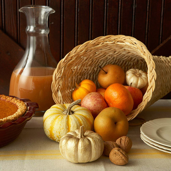 Pumpkin and apple cornucopia for Thanksgiving