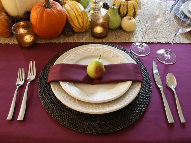 With a pear on top-perfect thanksgiving place setting