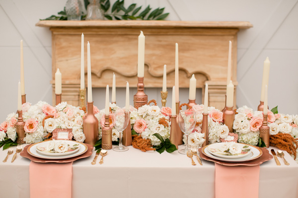 rose gold tablescape