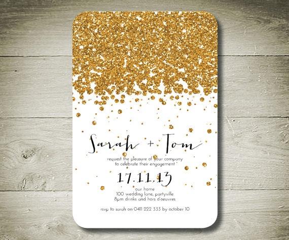 Gold glitter invitations