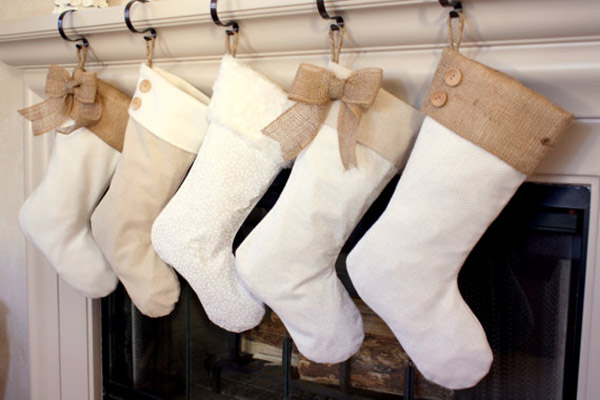 Lovely Burlap Christmas stockings