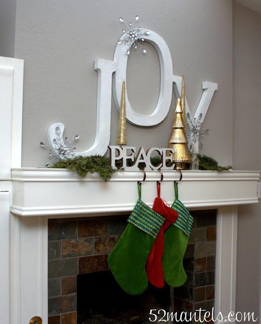 Peace And Joy Christmas Mantel
