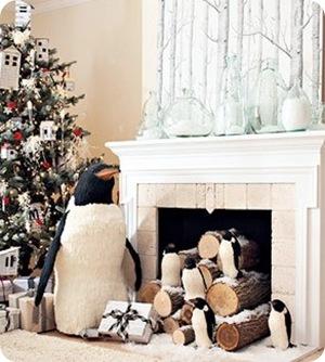 Snowy Penguin Christmas Mantel