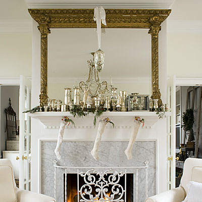White and silver vintage Christmas mantel