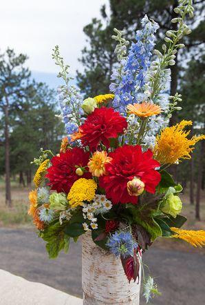 Rustic wild flower wedding flowers