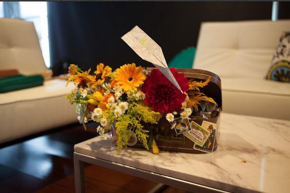 travel themed wedding flowers