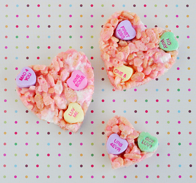 Conversation Heart Rice Krispies Treats!