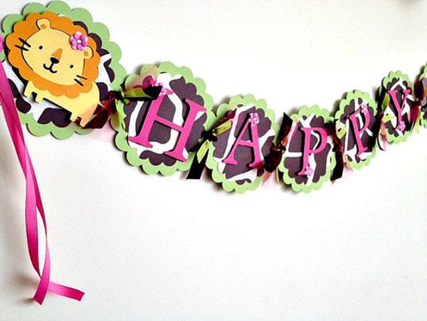 Girls safari happy birthday banner