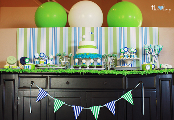 I love this golf party dessert table!