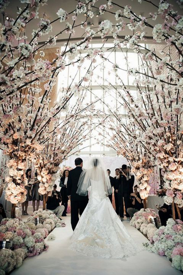 Blossoming trees for weddings b lovely events love these white blossoming trees at this wedding ceremony junglespirit Images