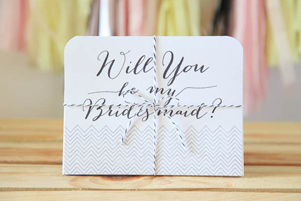 Cute Chevron Will you be my bridesmaid card