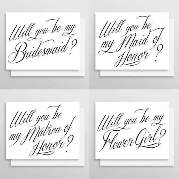 Will You Be My Bridemaid callagraphy card