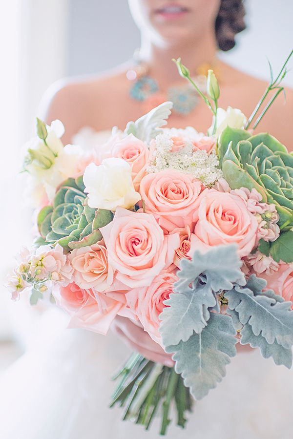 Love this soft pastel bridal bouquet