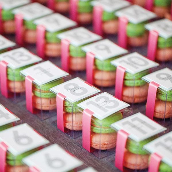 Pastel macaroon escort cards