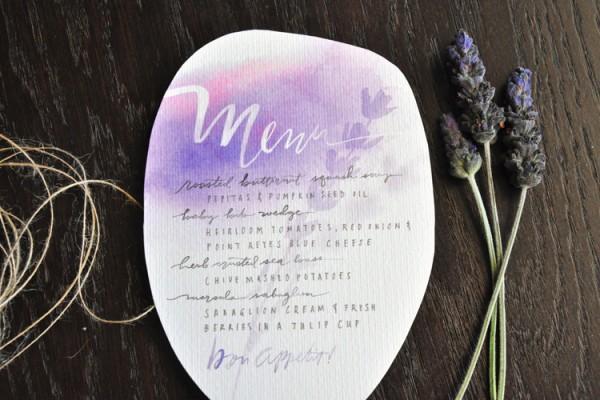 pastel watercolor menu