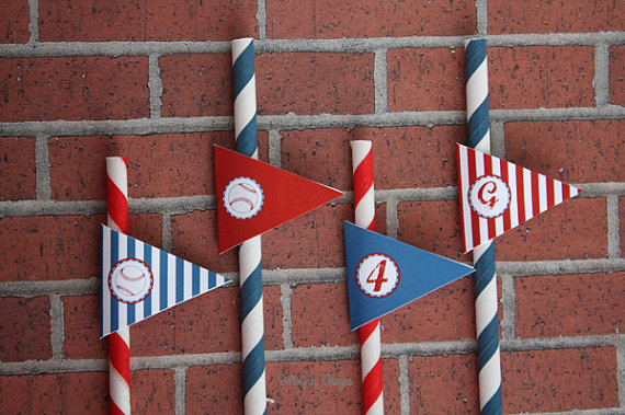 Baseball Party Straw Flags on Etsy