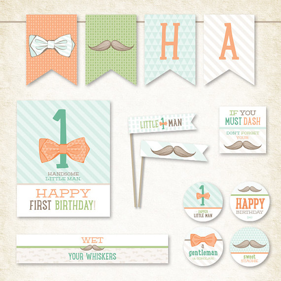 Little Man mustache party printables