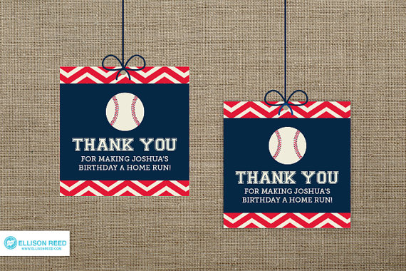 Super Cute Baseball favor tags on Etsy