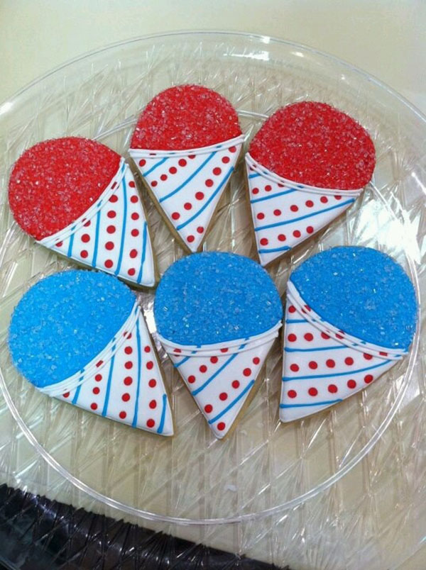 snow cone cookies for 4th of July!