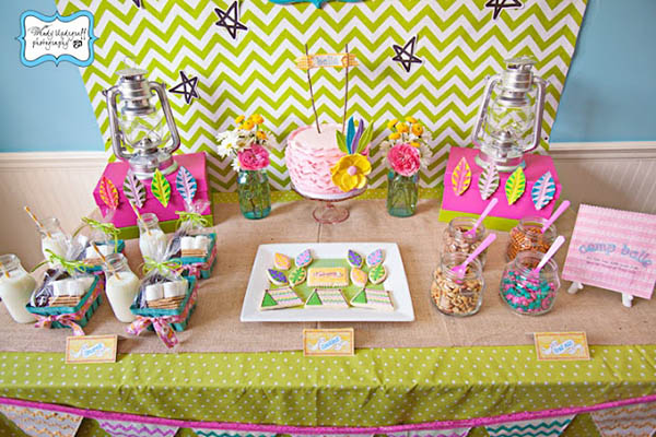Love this girly camping party!