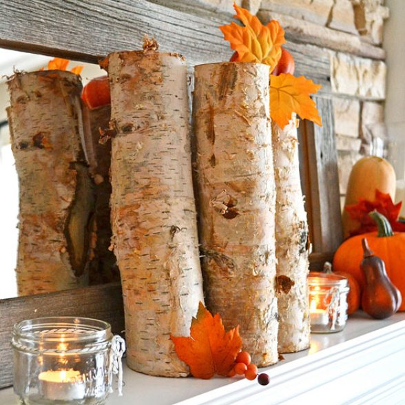 Birch Tree Fall Mantle Decor