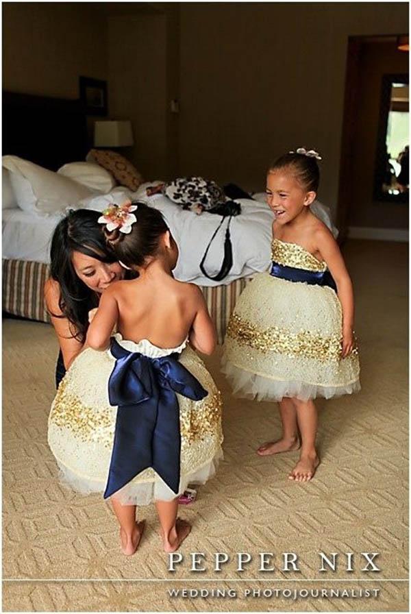 Gold Glitter Flower Girl Dresses