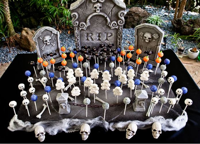 Love this Bone Yard Cake Pop Display!