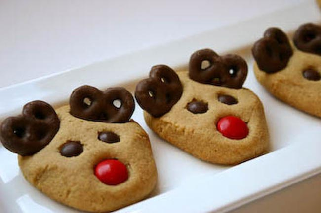 Peanut Butter reindeer cookies with Pretzels