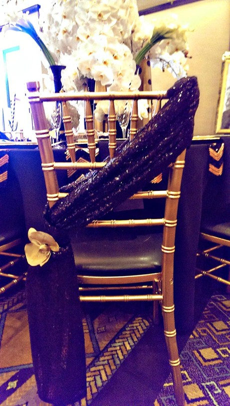 Black sequin chair sash