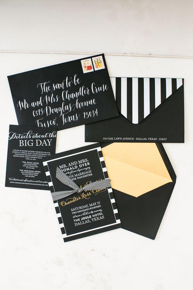 Lovely black and white striped Invite