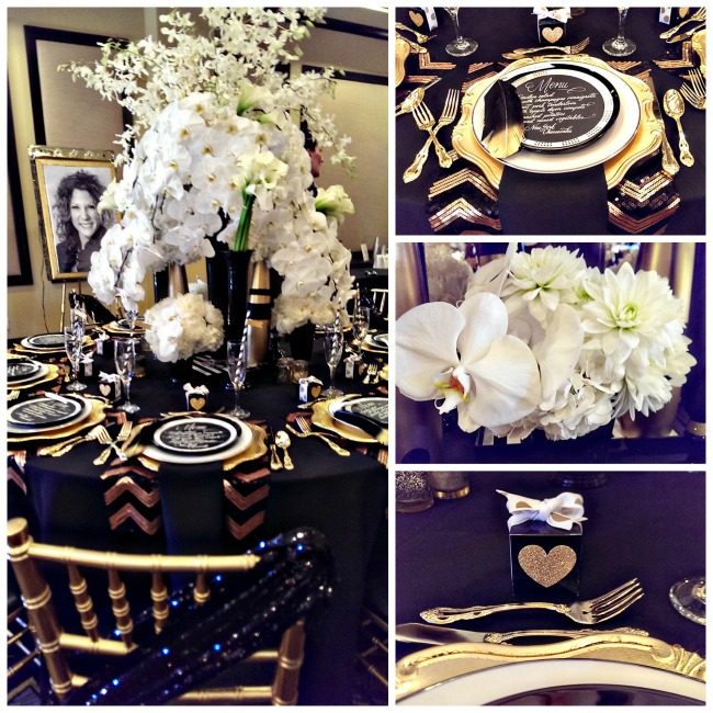 Modern black and gold tablescape b lovely events for Black and white tablescape ideas