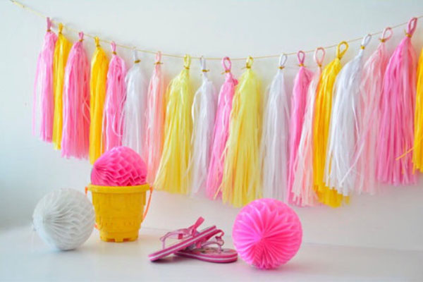 Pink and Yellow Tassel Garland