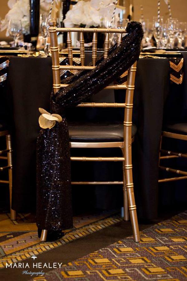 Black and Gold Beautiful Chair Tie