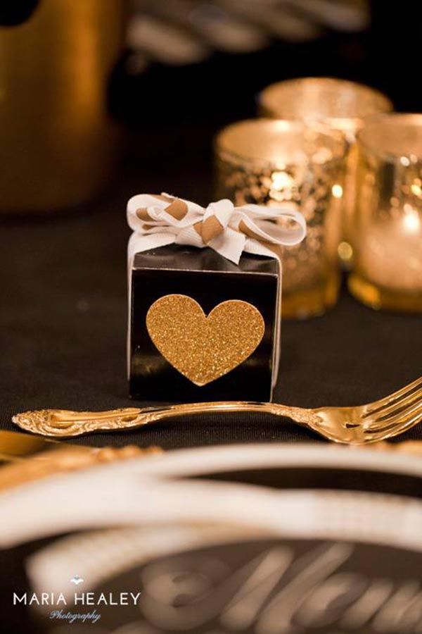 Black and gold favor boxes