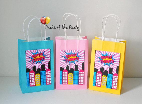 Girls Super hero party favor bags