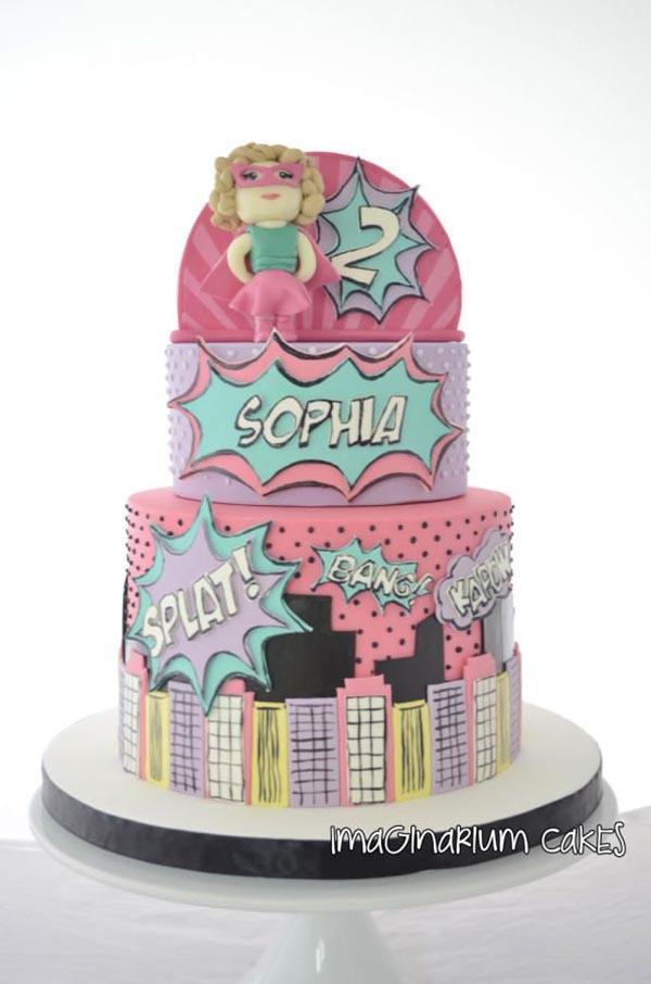 Love this superhero cake for a little girl