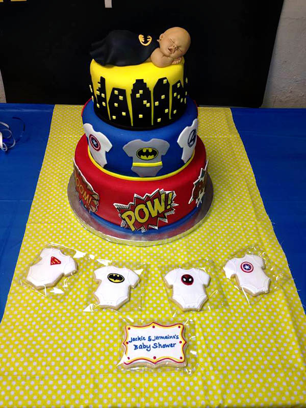 your shower with a bang with an outstanding superhero baby shower cake
