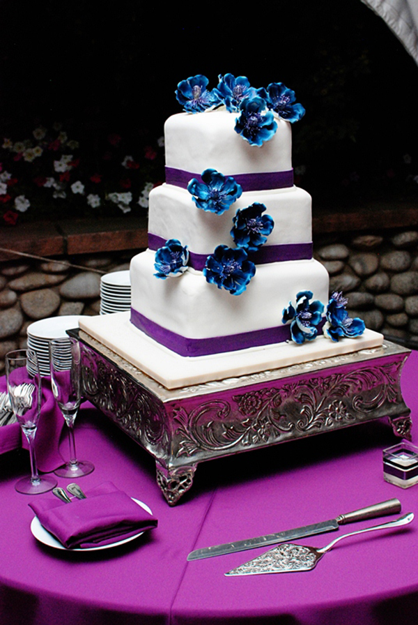 Purple And Blue Wedding Cake