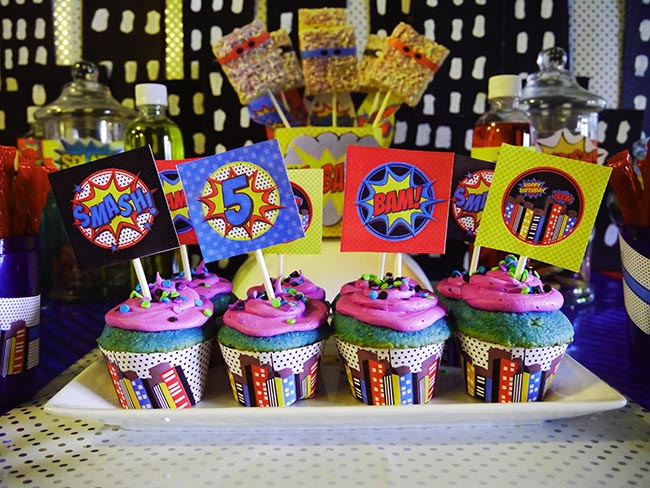 Boy Superhero Party Cupcakes