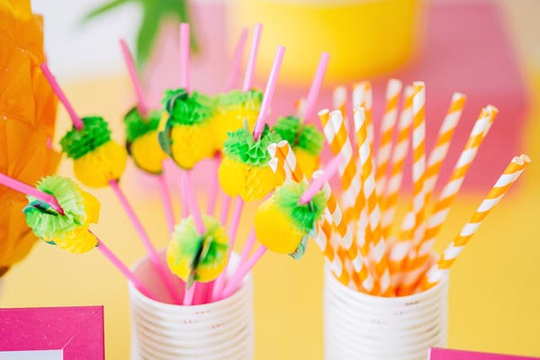 Cute little pineapple straws!