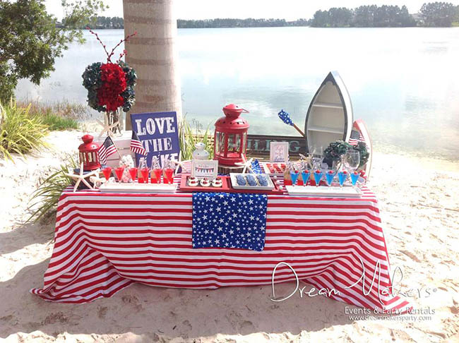 Seriously Cute 4th Of July lake party!
