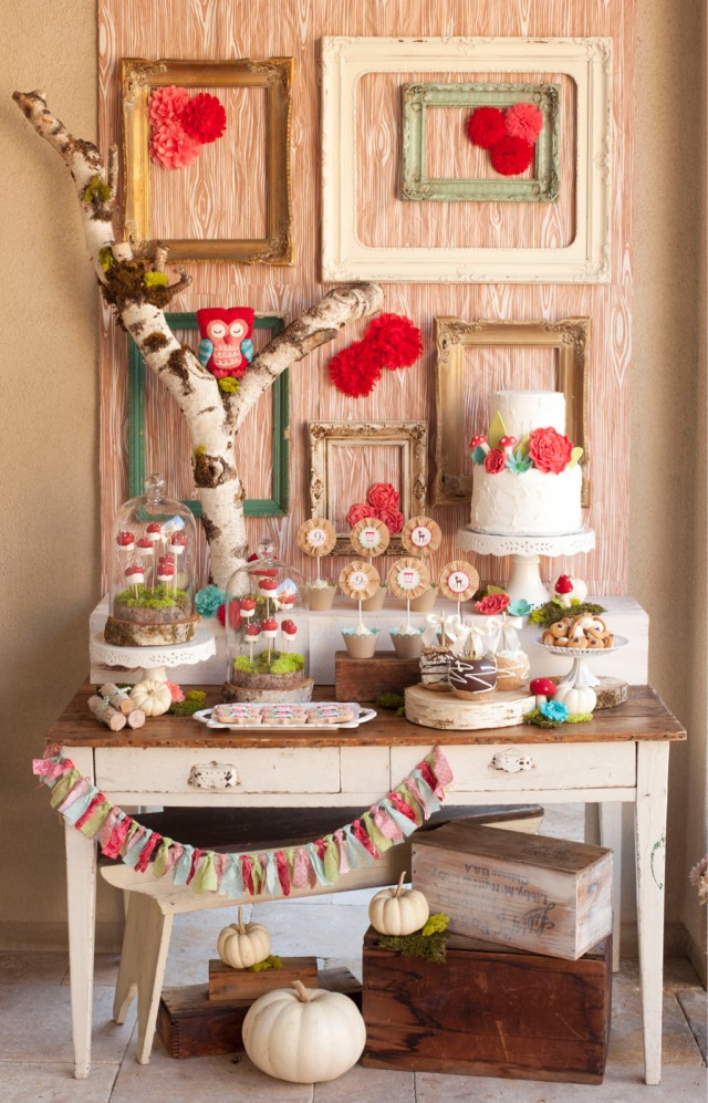 Woodland baby shower and birthday party ideas - wood cakes and dessert table