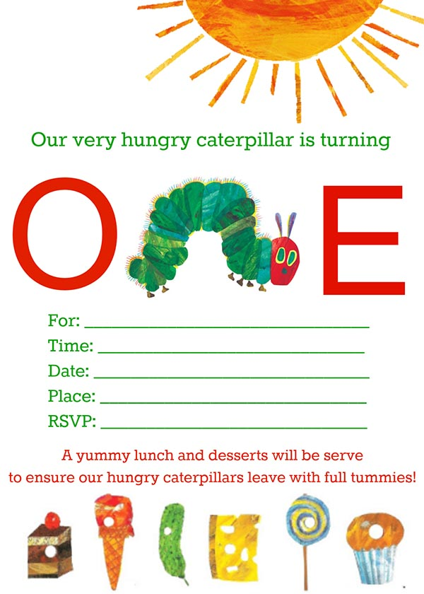 Very Hungry Caterpillar Invitation Free Printable