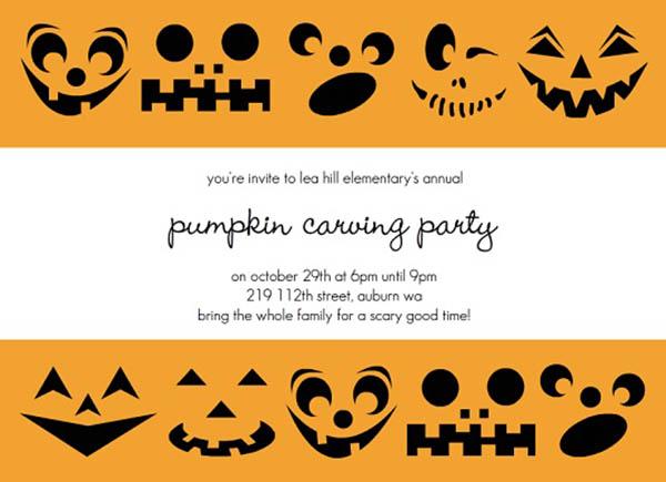 Fun Pumpkin carving Halloween Invitation