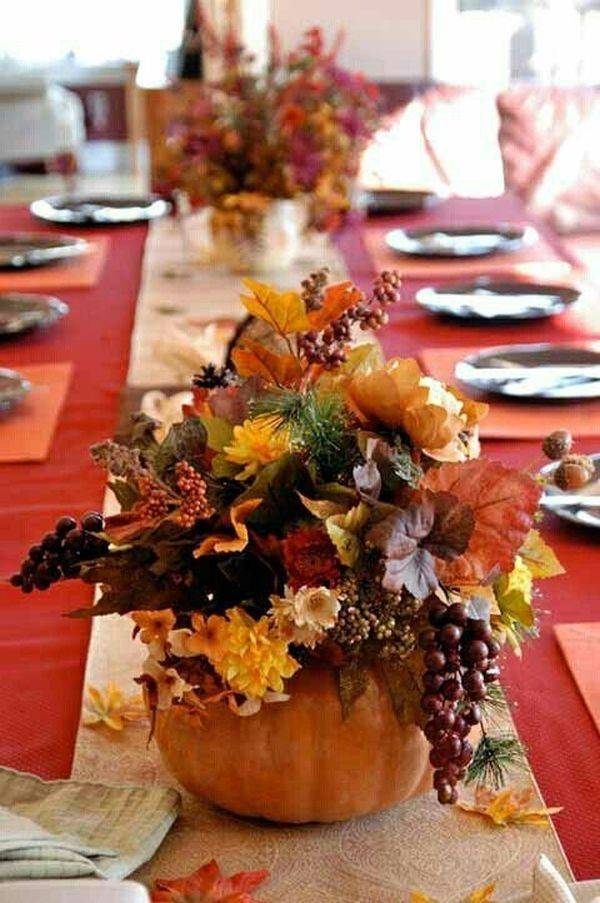 Love this Pumpkin fall Centerpiece that is perfect for weddings!